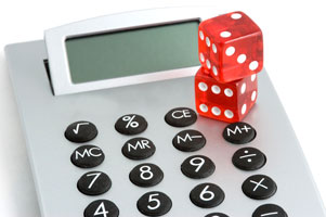 Calculator with dice
